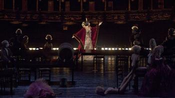 """A scene from the Prologue of Offenbach's """"Les Contes d'Hoffmann"""" with Ana Netrebko as Stella."""