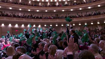Each of the six Spring For Music symphonies had its own color of bandana to give to fans who'd come from their home town for the performance.