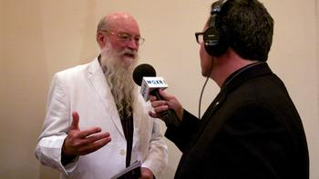 Host Elliott Forrest with composer Terry Riley. The Nashville Symphony performed the New York premiere of Riley's 'The Palmian Chord Ryddle for Electric Violin and Orchestra.'