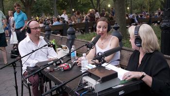 WQXR's Midge Woolsey with cellist Julia MacLaine and oboist James Roe during intermission.