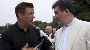 Actor Alec Baldwin, the 'voice' of the New York Philharmonic, and Alan Gilbert before the concert.