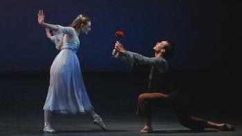 Sara Mearns and Tyler Angle in <em>The Nightingale and the Rose</em>, choreographed by Christopher Wheeldon