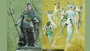 Neptune, mermen and mermaids costumes designed by Kevin Pollard for <em>The Enchanted Island</em>.