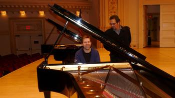 Leif Ove Andsnes and Steinway piano technician Ismael Cunha.