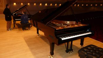 Leif Ove Andsnes tests two Steinway pianos on the Carnegie stage.
