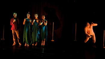 Still from Performance Lab 115's production of Wagner's Ring Cycle