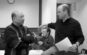 Zhou Long and Gil Rose backstage at Opera Boston rehearsals of Madame White Snake (February 2010)