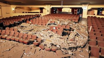 The inside of this theater in Valparaiso, Chile was destroyed.