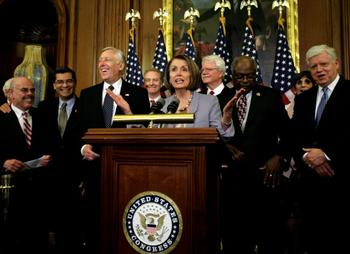 US House Speaker Nancy Pelosi speaks during an evening news conference with other House members.