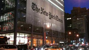 Renzo Piano's The New York Times building on 8th Avenue in Manhattan.
