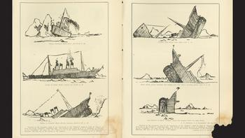 Sketches by John B. Thayer, Jr., from one of the Titanic's life rafts.
