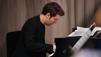 Pianist Alessio Bax performing on the 1,800th broadcast of the Young Artists Showcase.