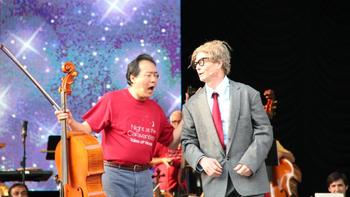 Yo-Yo Ma and actor Bill Irwin at Central Park Summerstage. Irwin is known by children as Mr. Noodle on 'Elmo's World.'