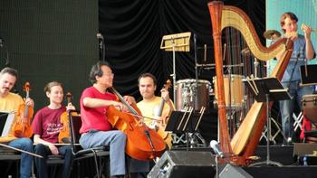 Yo-Yo Ma with members of the Silk Road Ensemble at Central Park Summerstage