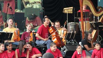 Yo-Yo Ma, vocalist Bobby McFerrin and sixth graders from Frederick Douglass Academy III in The Bronx.