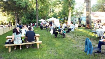Caramoor patrons enjoy a picnic before the concert on the festival grounds.