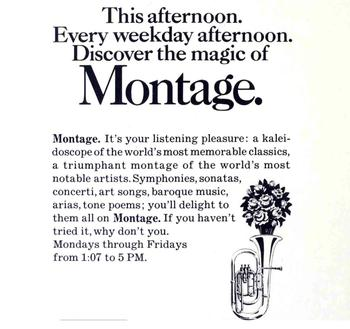 An ad for WQXR's 'Montage' show in 1969