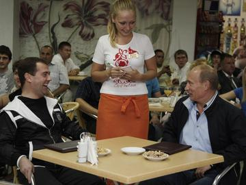Russian President Dmitry Medvedev, left, and Prime Minister Vladimir Putin, right, in 2009.