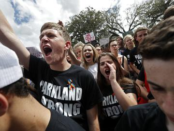 Student survivors from Marjory Stoneman Douglas High School rally for gun control reform on the steps of the state capitol, in Tallahassee, Fla. on Wednesday, February 21, 2018.