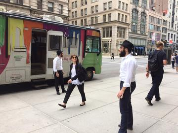 Two rabbis and a mitzvah tank in Manhattan in June, 2017.