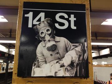 subway, art, gas mask
