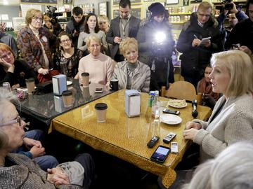 Senator Kirsten Gillibrand, D-N.Y., meets with residents at the Pierce Street Coffee Works cafe', in Sioux City, Iowa, Friday, Jan. 18, 2019.
