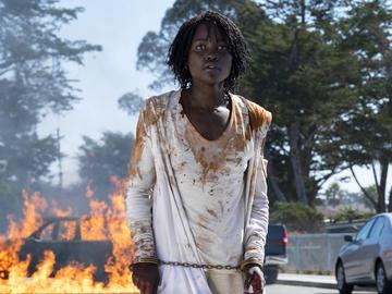 This image released by Universal Pictures shows Lupita Nyong'o in a scene from 'Us,' written, produced and directed by Jordan Peele.