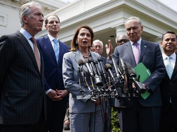 Speaker of the House Nancy Pelosi of Calif., talks with reporters after meeting with President Donald Trump about infrastructure, at the White House, Tuesday, April 30, 2019, in Washington.
