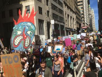 Climate strikers march down Broadway in New York City on Friday, Sept. 20.