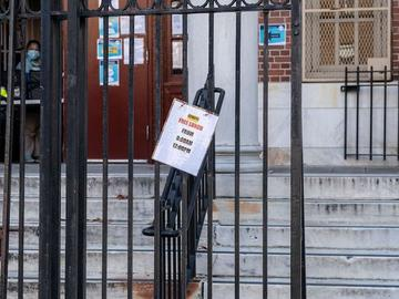 The iron gates in front of PS 231 in Borough Park