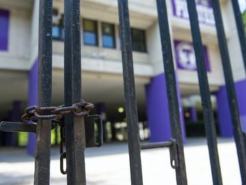A chained gate at Tottenville High School in Staten Island.