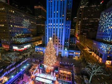 A view from overhead of the 2020 Rockefeller Christmas tree all lit up.
