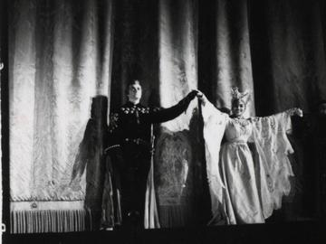 Franco Corelli (Manrico) and Leontyne Price (Leonora) take a curtain call following their Met debuts in Verdi's 'Il Trovatore' on January 27, 1961.