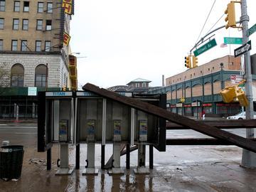 Surf Avenue hit hard by Hurricane Sandy in Coney Island.