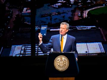 New York City Mayor Bill de Blasio delivers his fifth State of the City address at the Kings Theatre in Brooklyn on Tuesday, February 13, 2018.