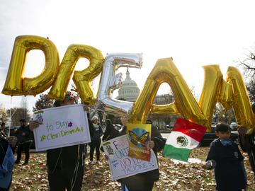 Demonstrators hold up balloons during an immigration rally in support of the Deferred Action for Childhood Arrivals (DACA), and Temporary Protected Status (TPS), programs, near the U.S. Capitol.