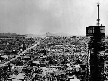 High-angle view of a section of the city of Hiroshima after the US atomic bombing on August 6, 1945.