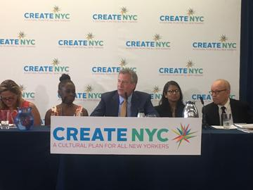 Mayor Bill De Blasio unveils the city's new cultural plan, CreateNYC, at Materials for the Arts in Long Island City.