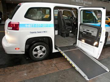 An MV-1 model Access-a-Ride vans used by the MTA