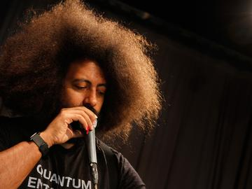 Reggie Watts performs in the Soundcheck studio.