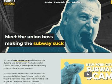 Screenshot of the anti-union subway ad campaign website. The non-profit group The Center for Union Facts is behind the ad. The head of that group is corporate lobbyist Richard Berman.