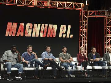 Stephen Hill, from left, Zachary Knighton, Peter M Lenkov, Jay Hernandez, Perdita Weeks, Tim Kang and Eric Guggenheim participate in the 'Magnum P.I' panel during the Television Critics Association