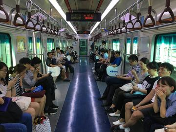 Another type of subway car in the Seoul Metro.