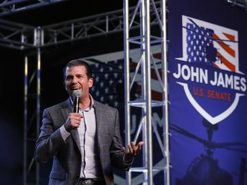 Donald Trump Jr. speaks during a rally for Republican U.S. Senate candidate John James in Pontiac, Mich., Wednesday, Oct. 17, 2018.