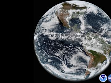 This image provided by NOAA/NASA on Thursday, May 31, 2018 shows the Earth's western hemisphere at 12:00 p.m. EDT on May 20, 2018