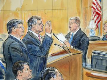 This courtroom sketch depicts former Donald Trump campaign chairman Paul Manafort, center, and his defense lawyer Richard Westling, left, before U.S. District Judge Amy Berman Jackson