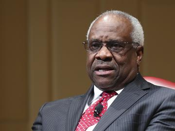 Associated Justice Clarence Thomas speaks during an event at the Library of Congress in Washington, Thursday, Feb. 15, 2018.