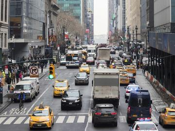 In this Jan. 11, 2018 file photo, traffic makes it's way across 42nd Street in New York City.