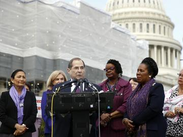 House Judiciary Committee Chair Jerrold Nadler, D-N.Y., speaks at a news conference after the House voted to reauthorize the Violence Against Women Act, Thursday, April 4, 2019, on Capitol Hill.