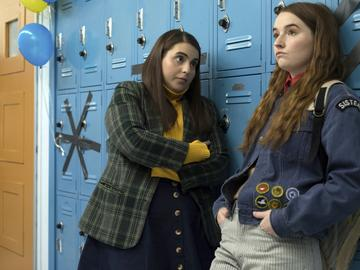 This image released by Annapurna Pictures shows Beanie Feldstein, left, and Kaitlyn Dever in a scene from the film 'Booksmart,' directed by Olivia Wilde.